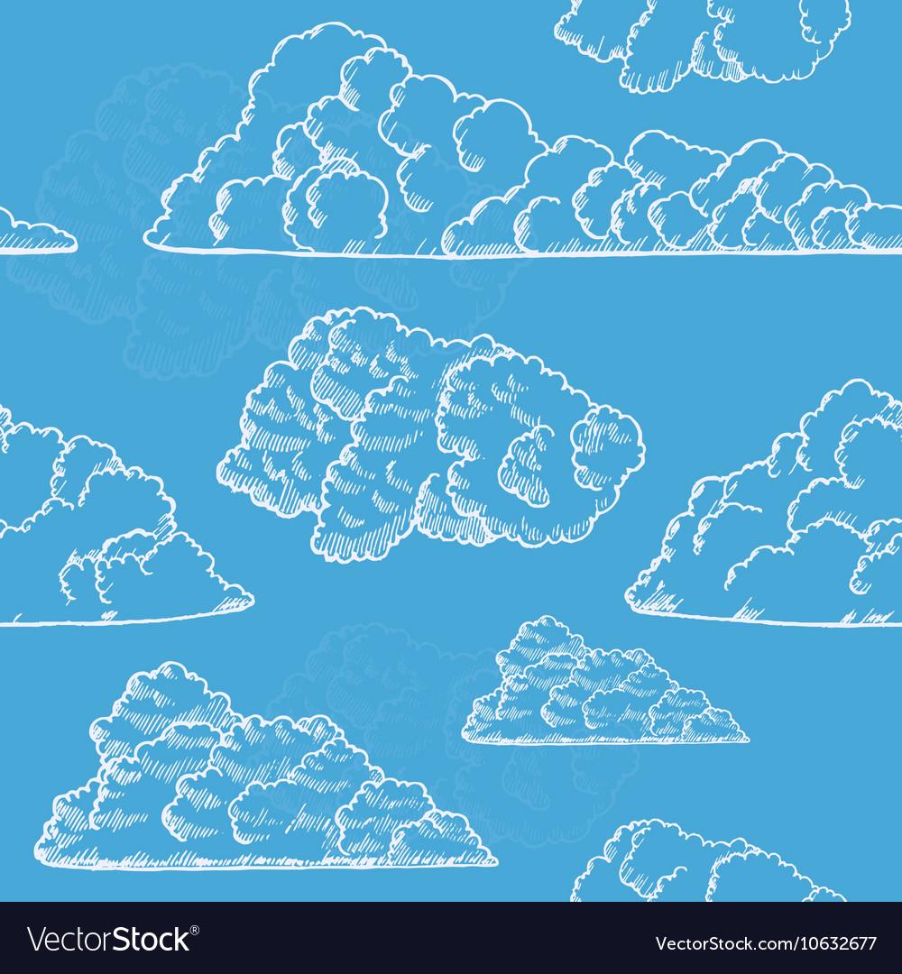 Clouds Hand Draw Sketch Background Pattern