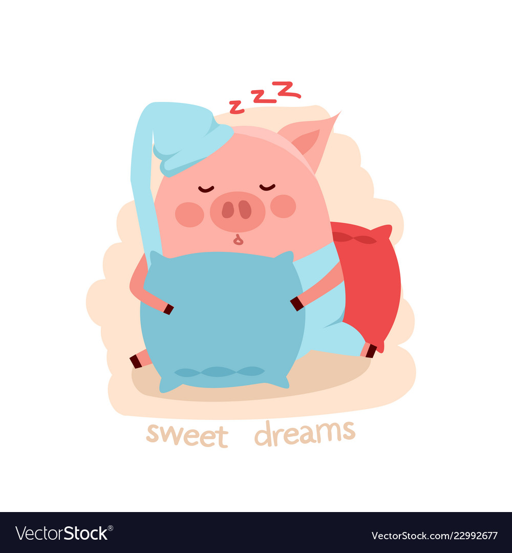 Cute cartoon sleeping pig hugging pillow
