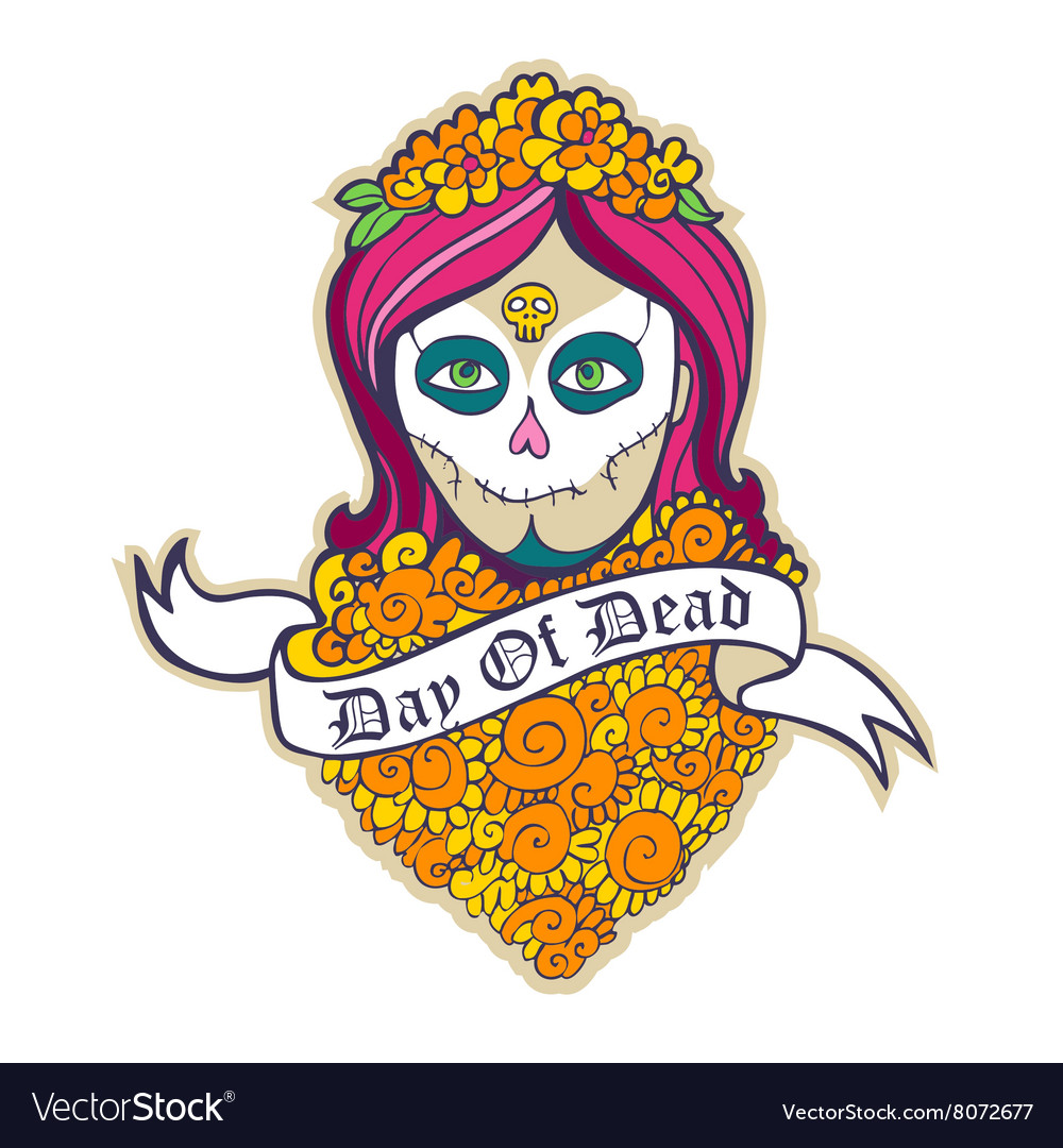 Day of dead skull girl with marigold