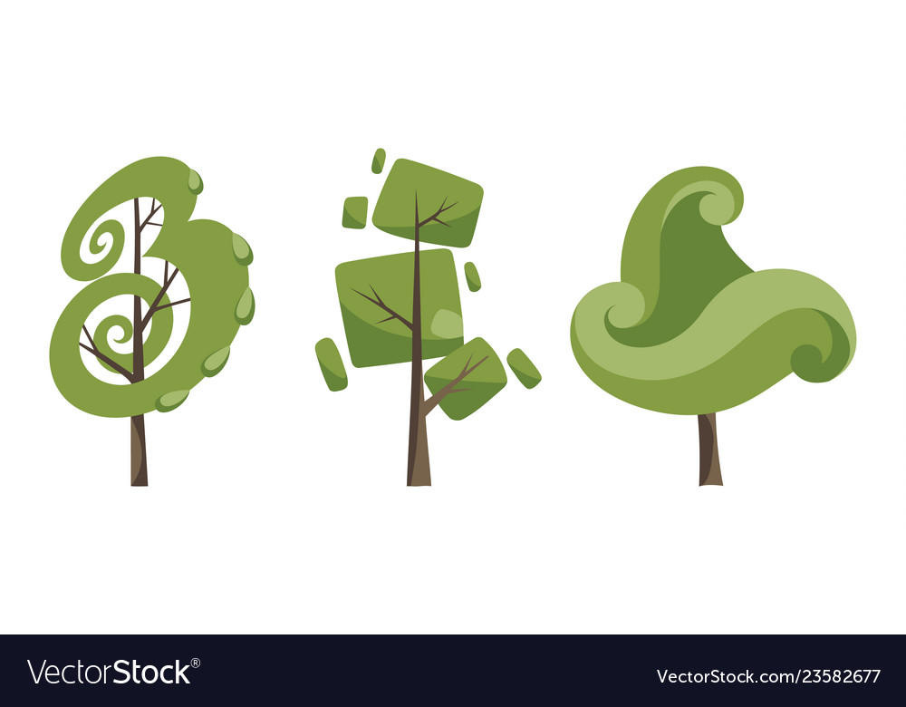 Decorative trees icon set flat trees in a flat