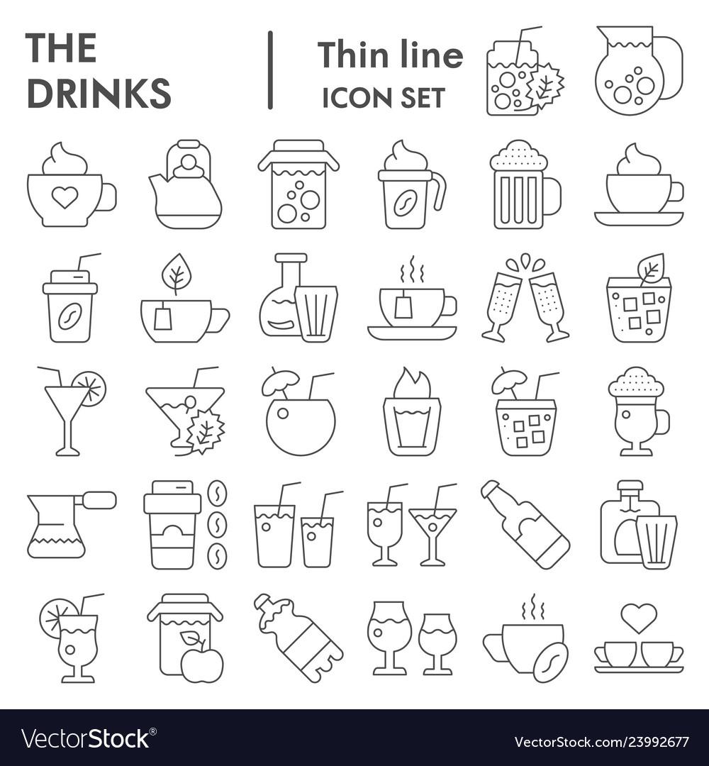 Drinks thin line icon set beverage symbols