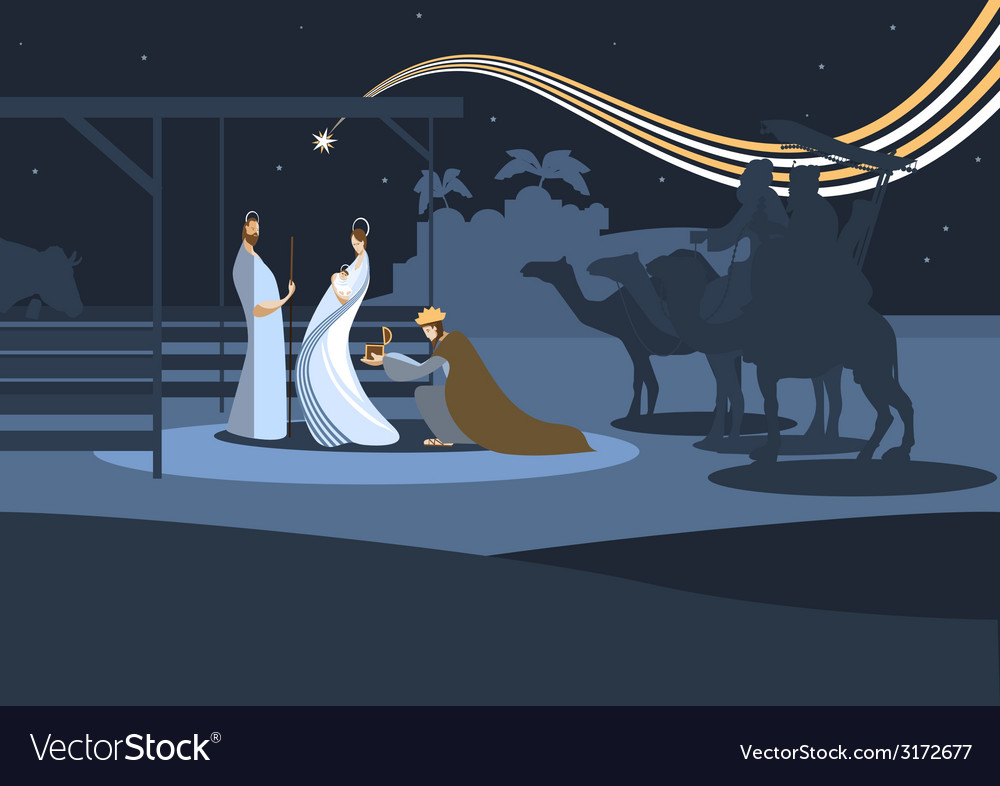 Flat nativity scene b vector image