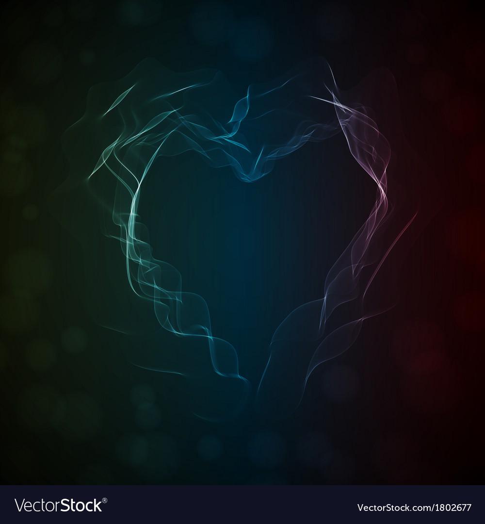 Glowing smoke heart vector image