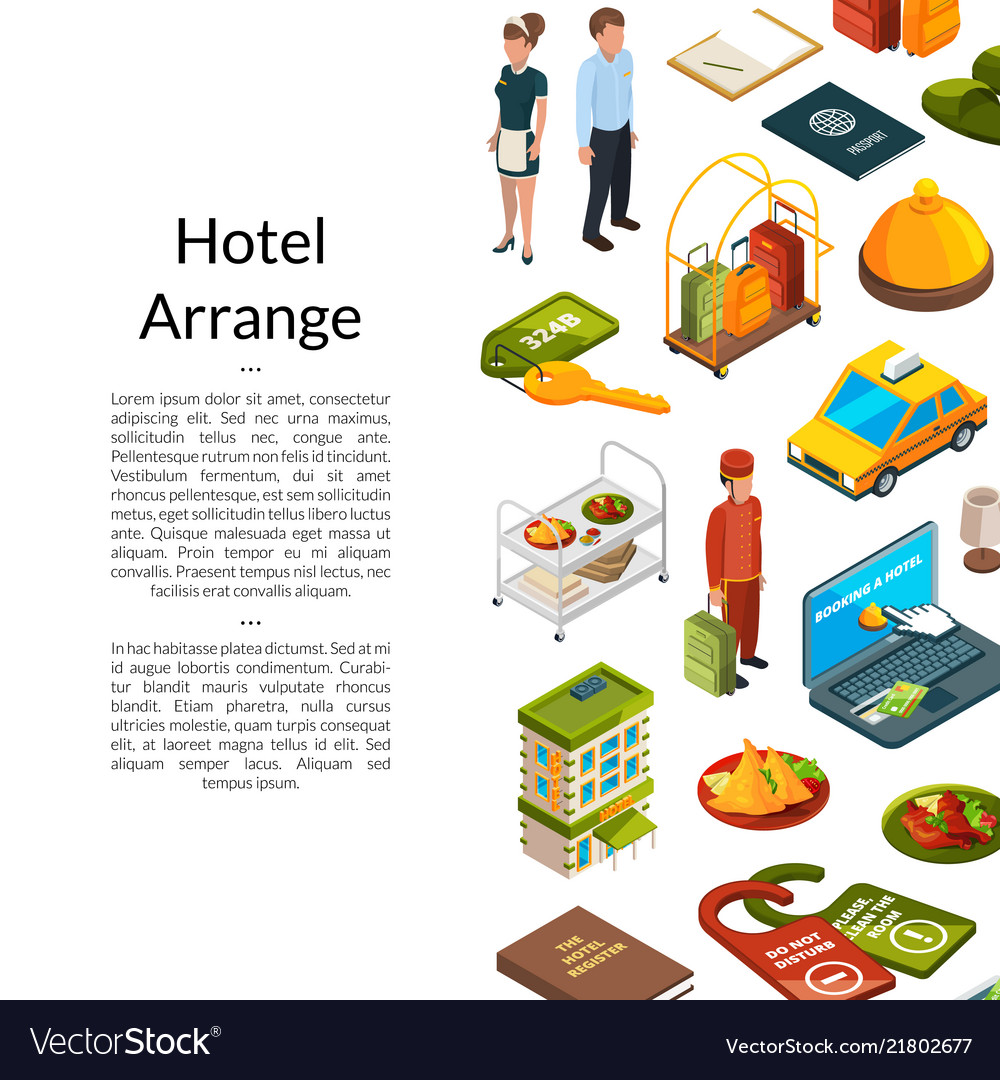 Isometric hotel icons background with place