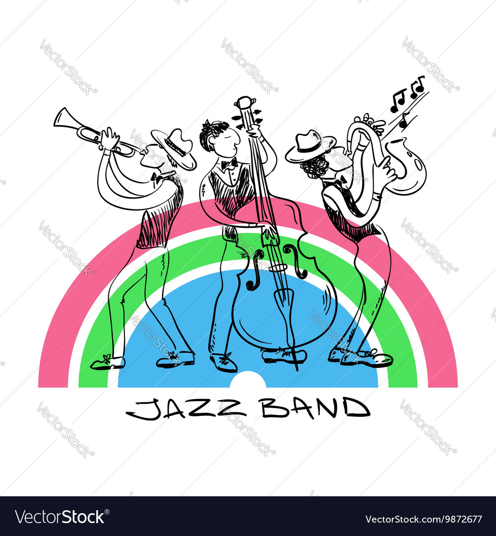 Jazz Trio Of Saxophone Trumpet And Contrabss