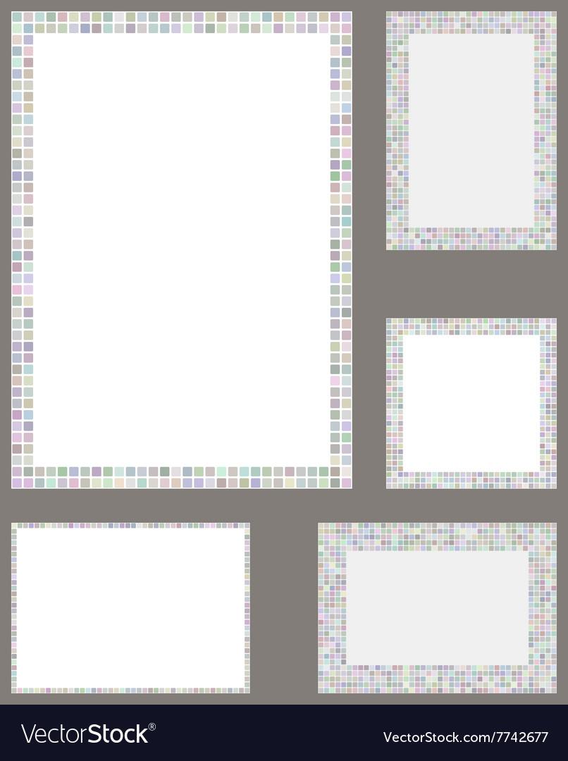 Light color pixel mosaic page border template set