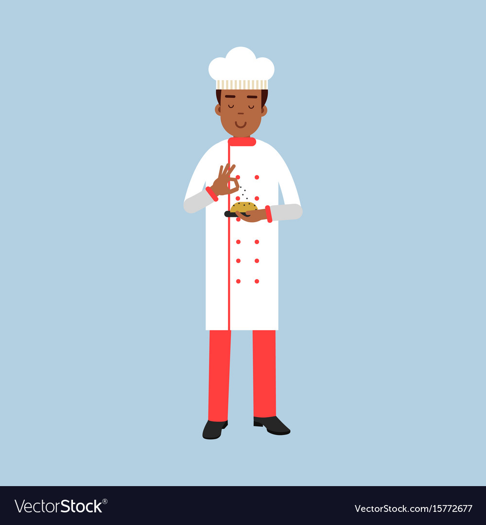 Male chef cook character in uniform sprinkling