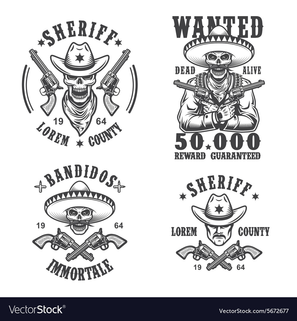 Set of sheriff and bandit emblems