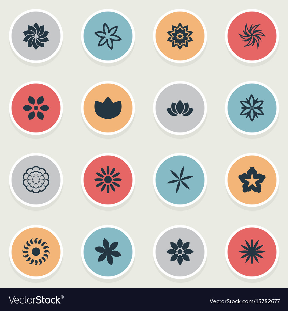 Set of simple flower icons