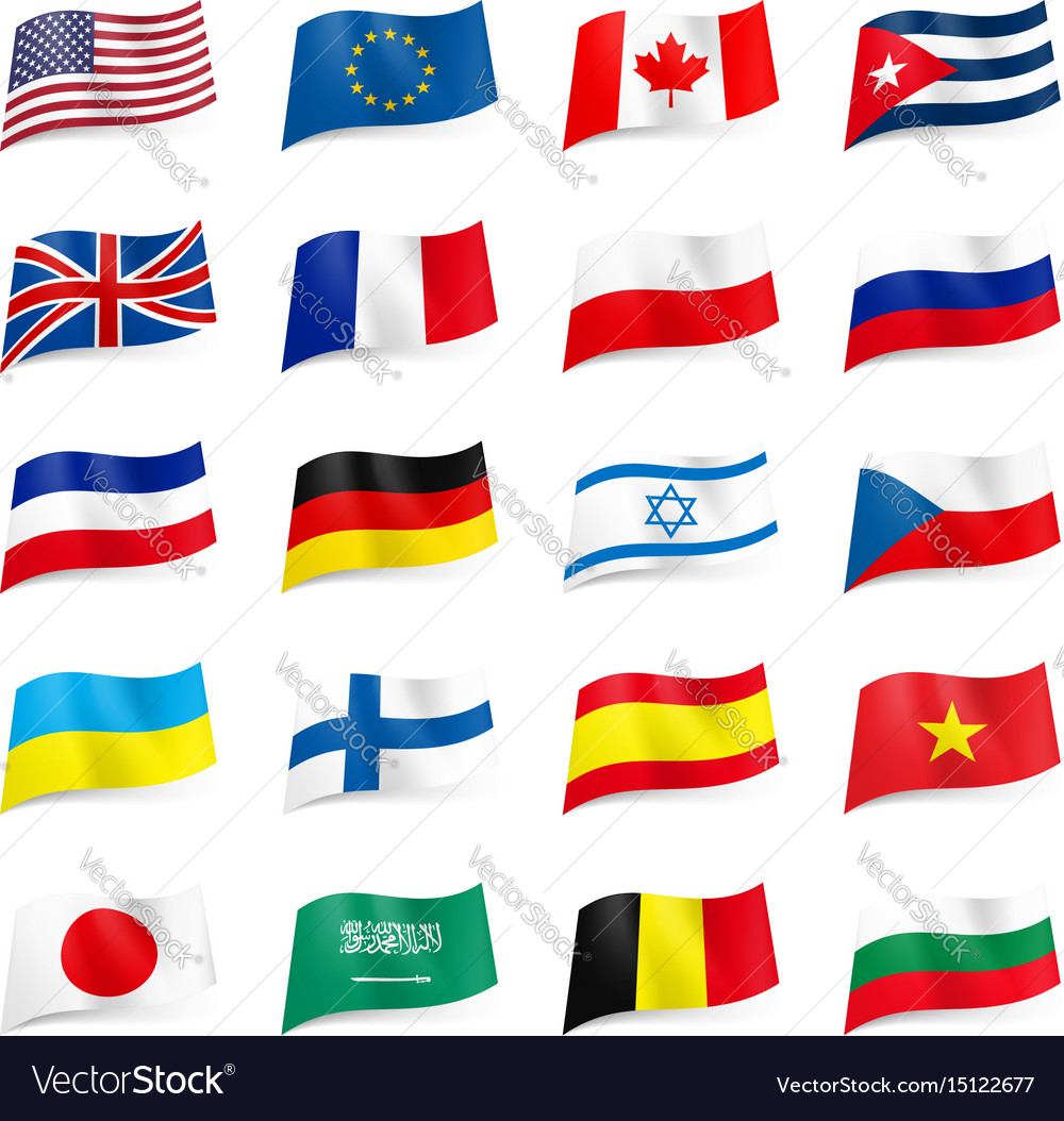 Set world flags icons on white