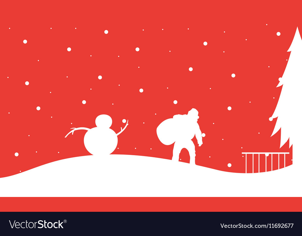 Silhouette of Santa with snowman Christmas vector image