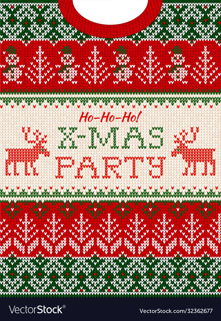 Ugly sweater christmas party invite knitted