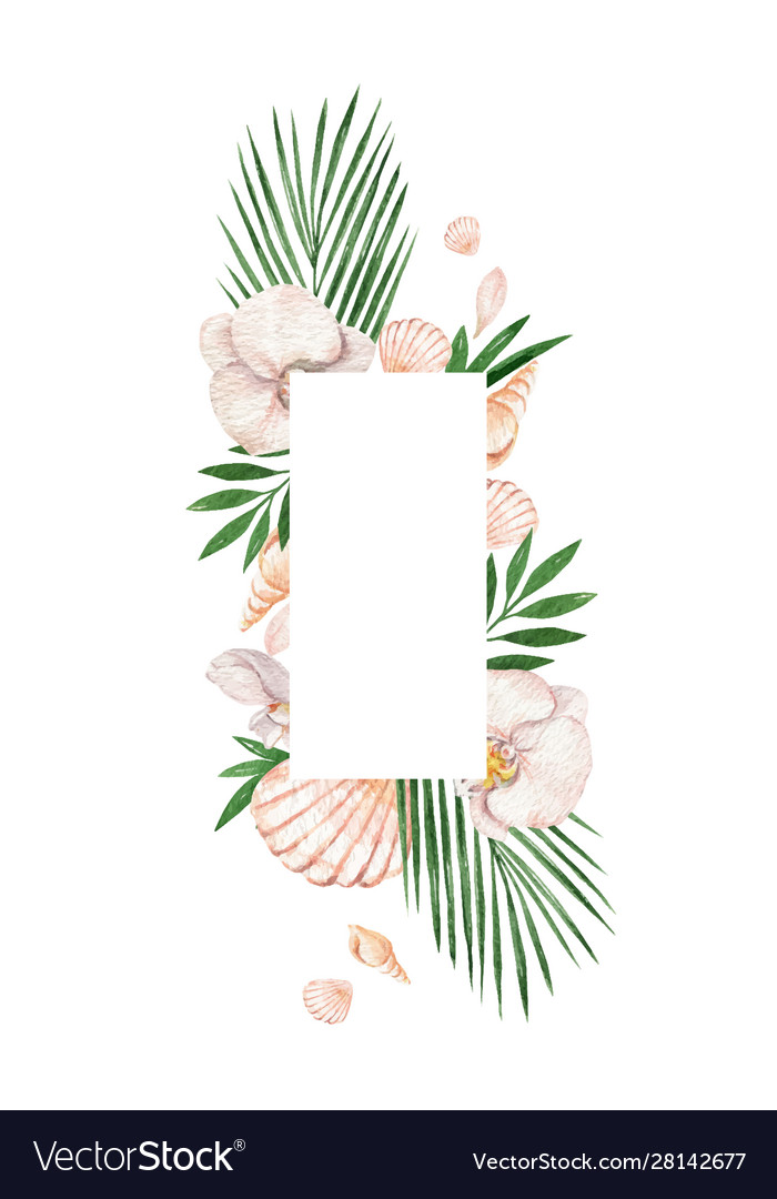 Watercolor frame with tropical leaves