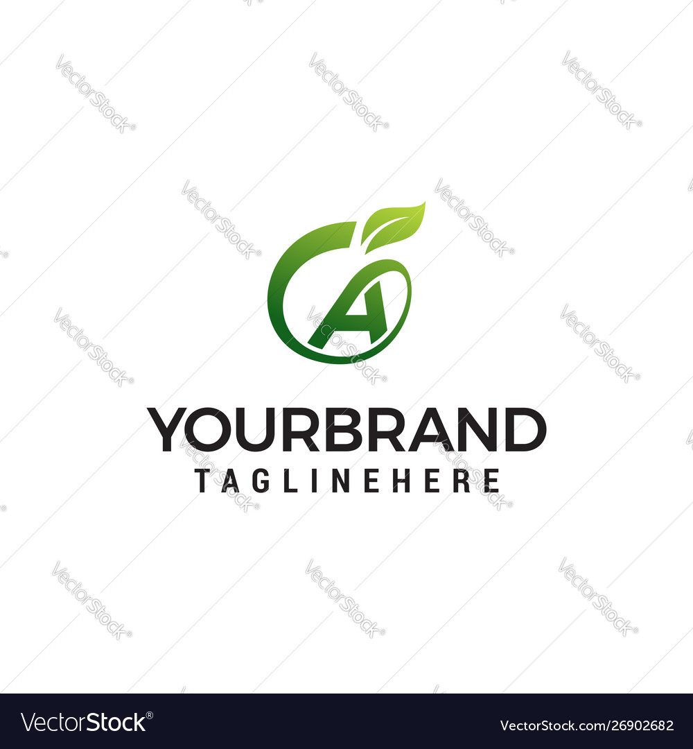 A logo initial letter design template with leaf