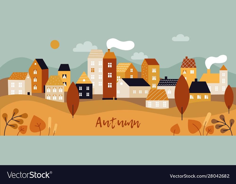 Autumn city landscape fall season panorama