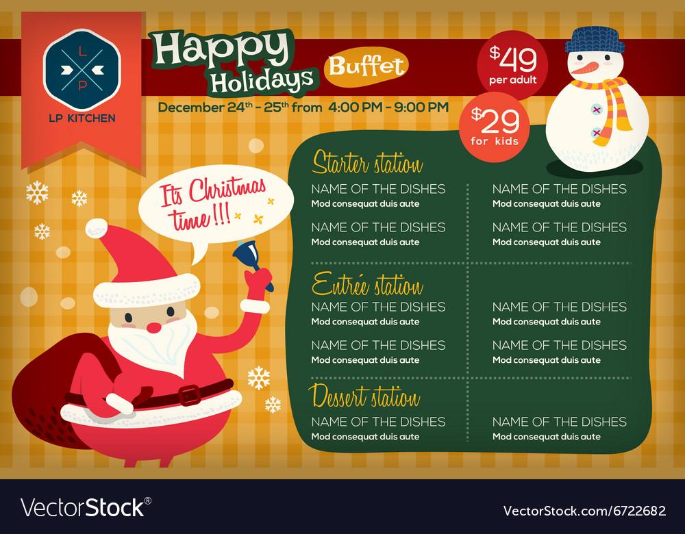 christmas restaurant menu template royalty free vector image