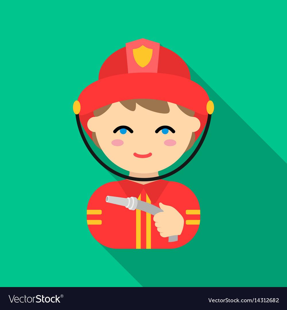 Fireman icon flat single silhouette fire vector image