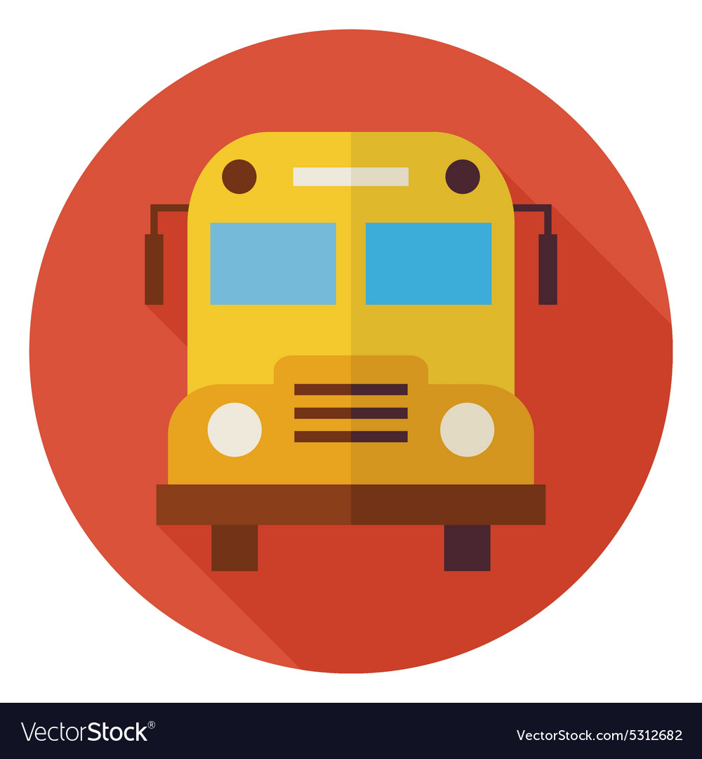 Flat School and Education Bus Circle Icon with