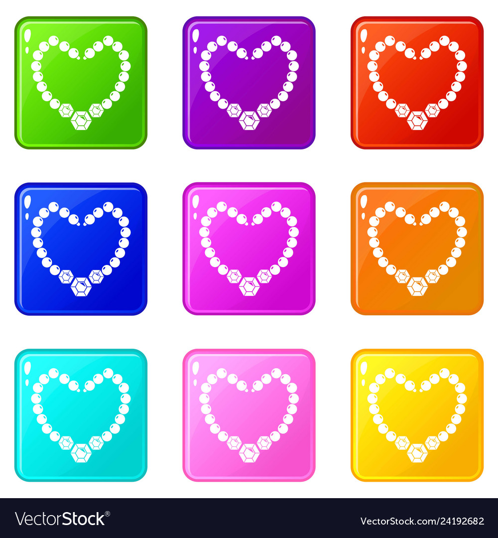 Necklace icons set 9 color collection