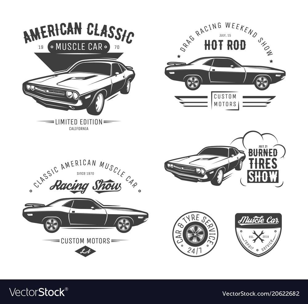 Set classic muscle car emblems