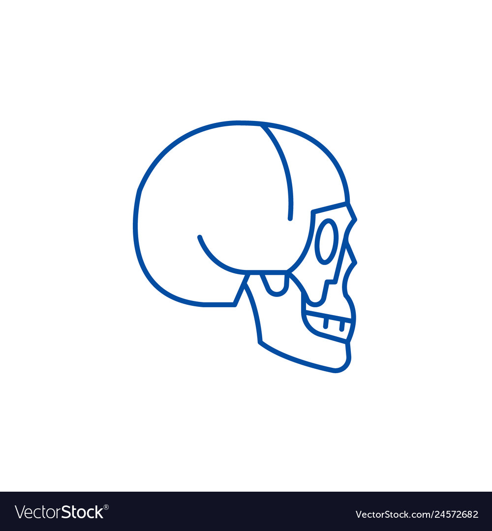 Skull side view line icon concept skull side view