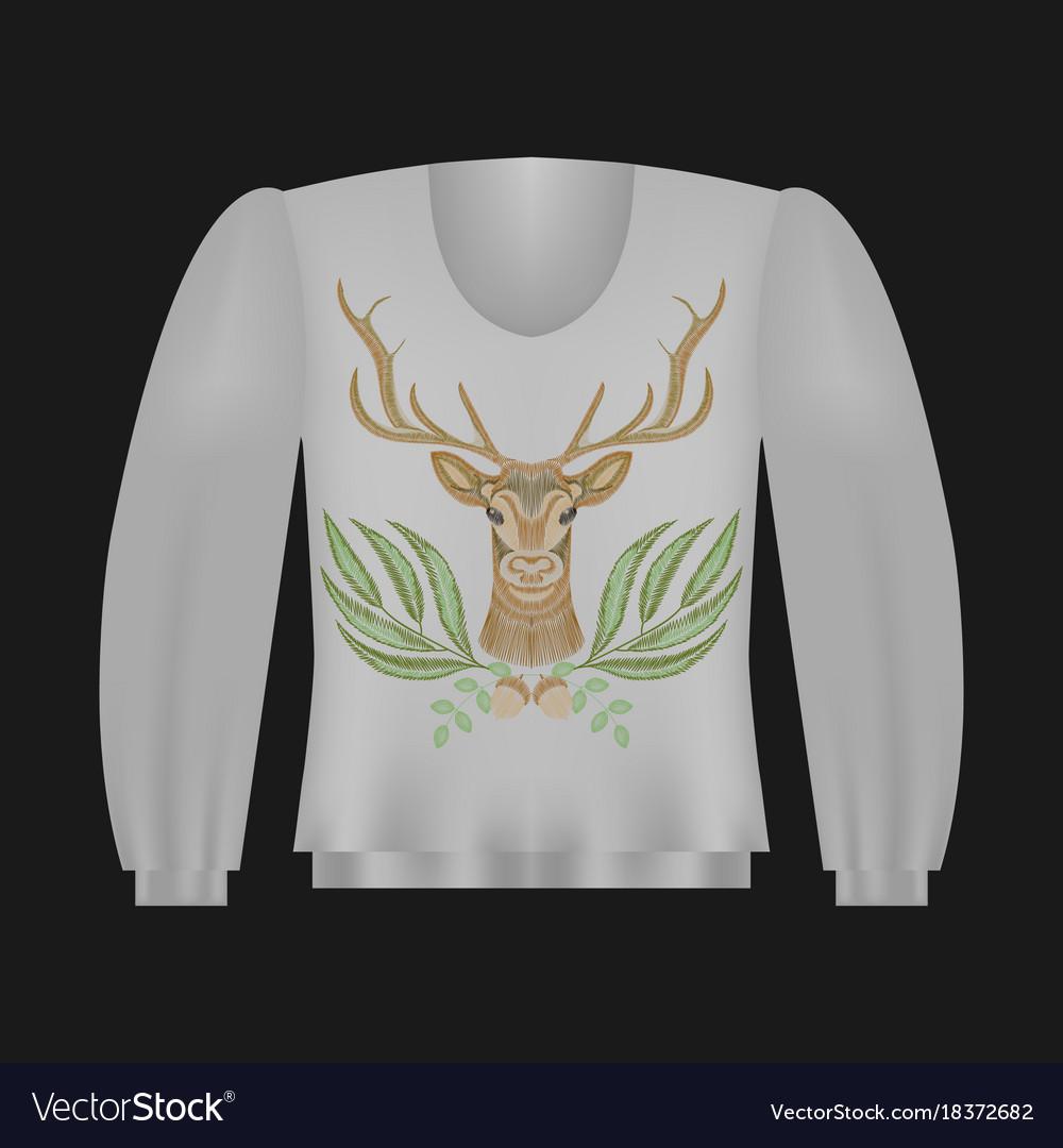 sweatshirt template with deer royalty free vector image