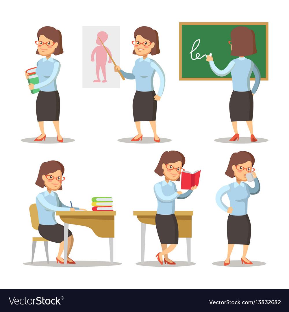 Teacher cartoon character set woman with pointer vector image