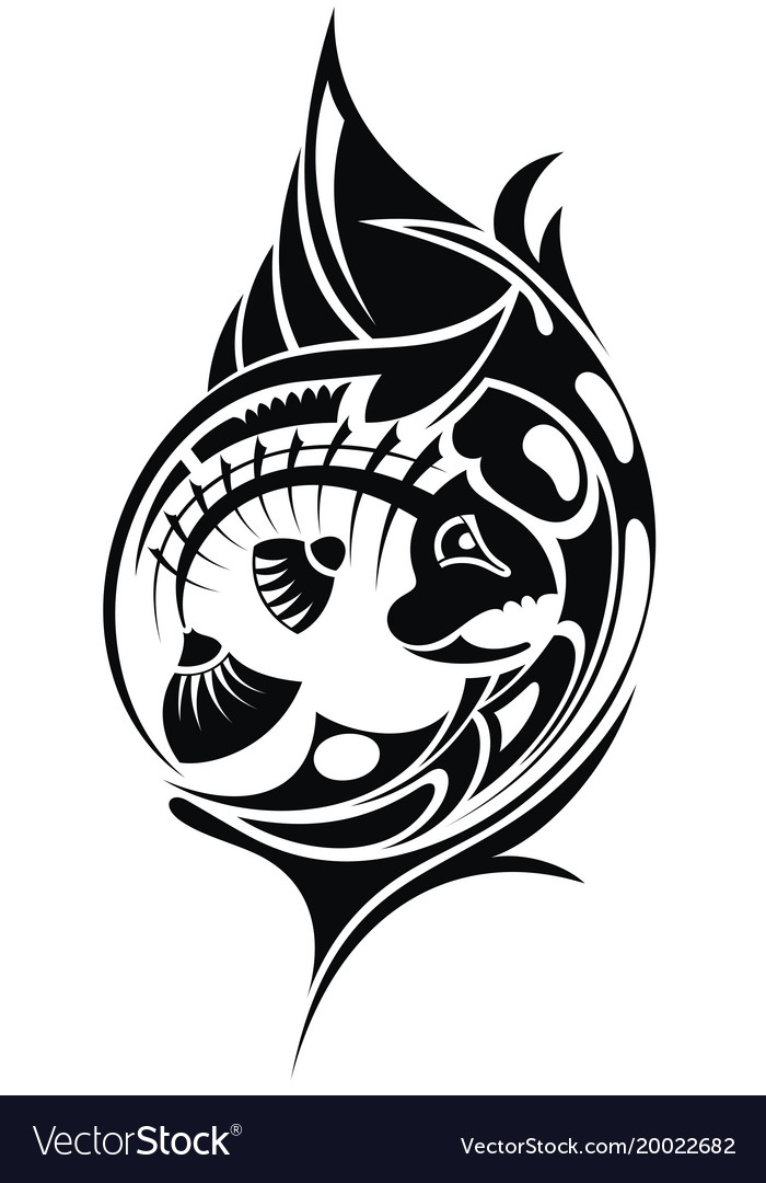Tribal tattoo with fish vector image