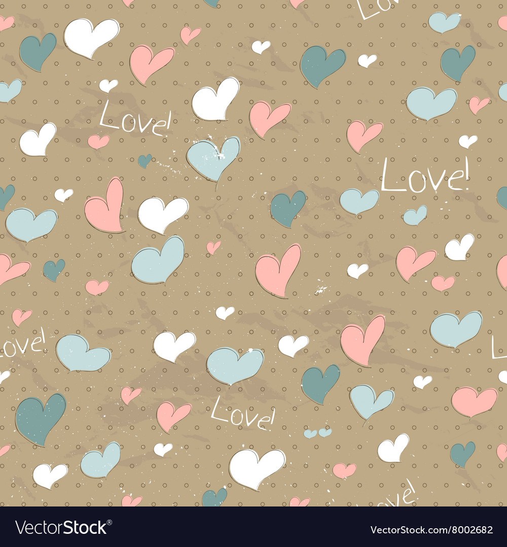Vintage seamless texture with hearts
