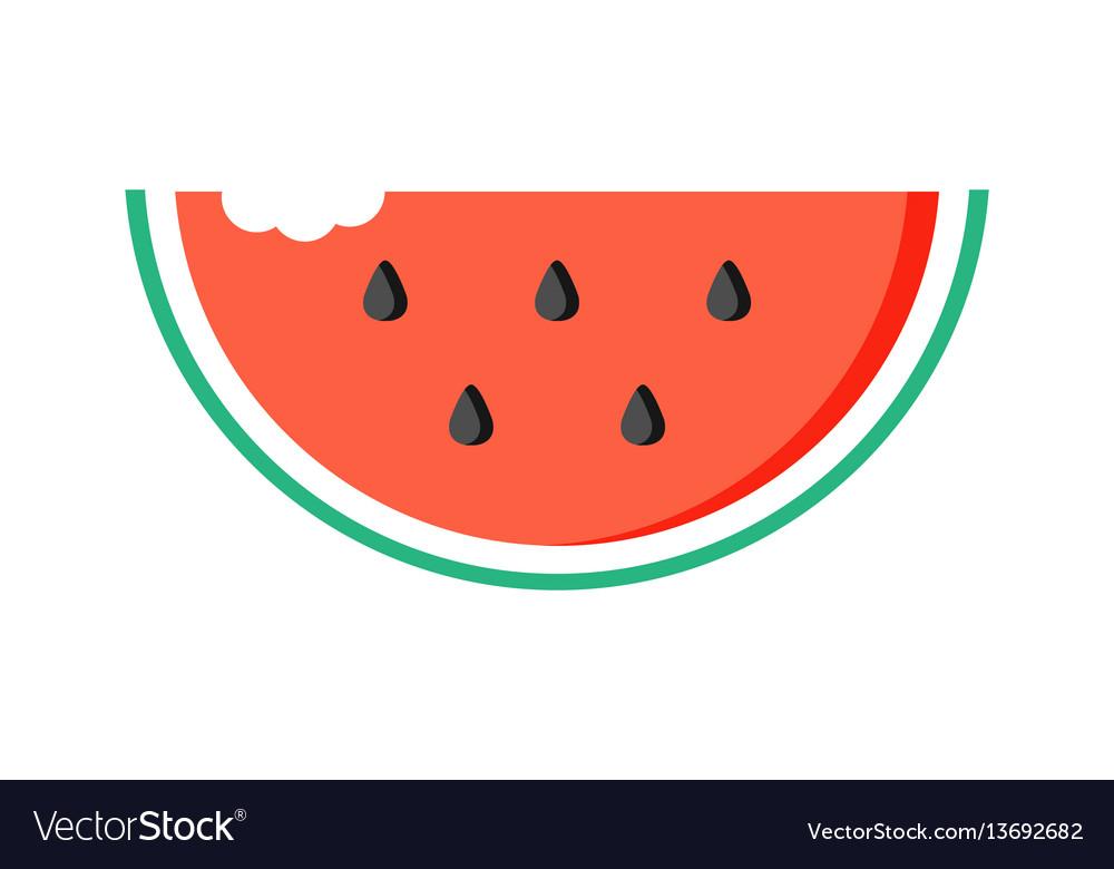 Watermelon slice with bite mark vector image