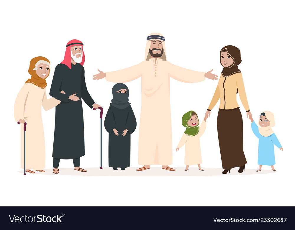Arab family muslim mother and father happy kids