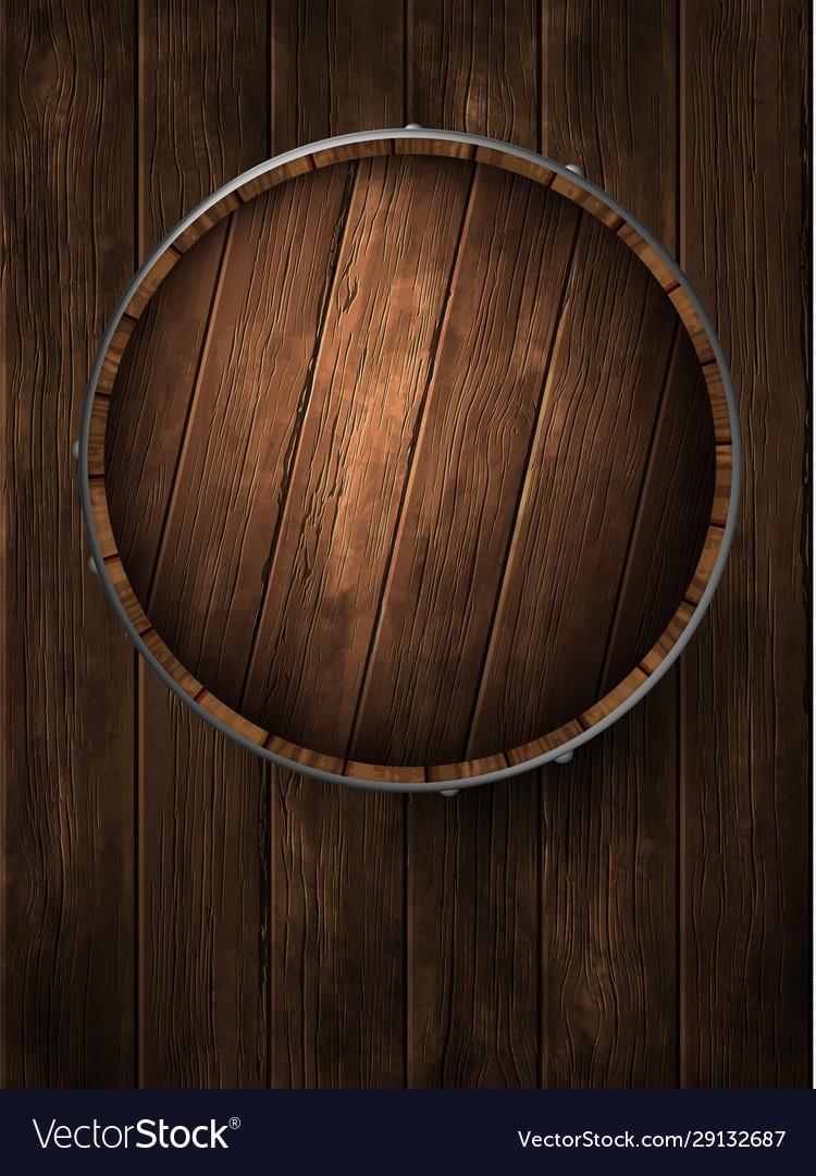 Beer barrel lid on wooden boards high detailed