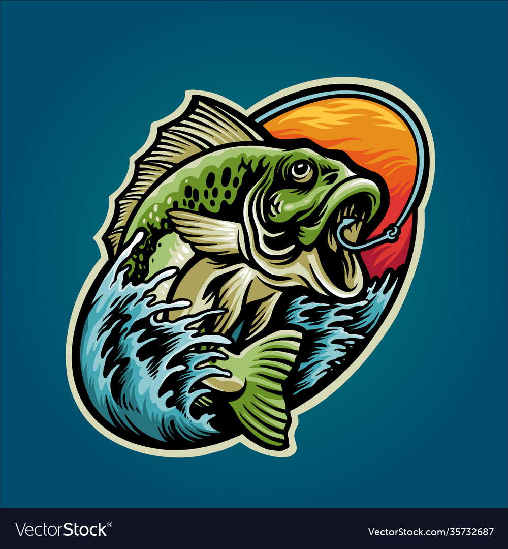 Get bass fishing mascot summer graphic design