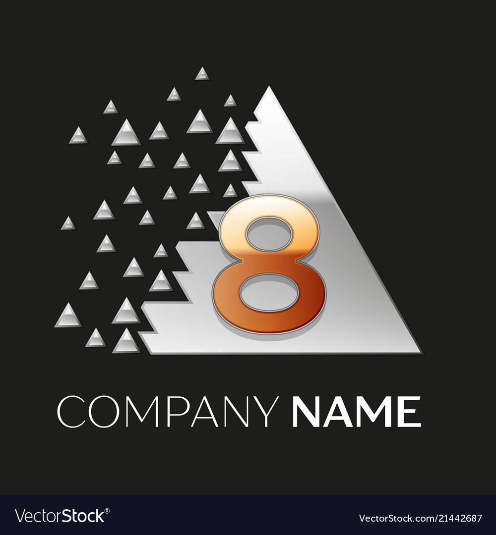 Golden number eight logo in silver pixel triangle