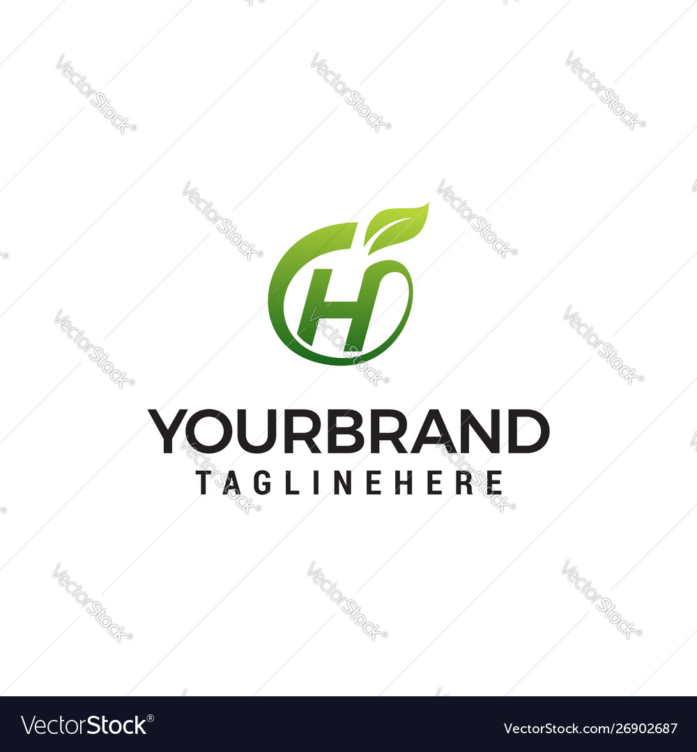 H logo initial letter design template with leaf