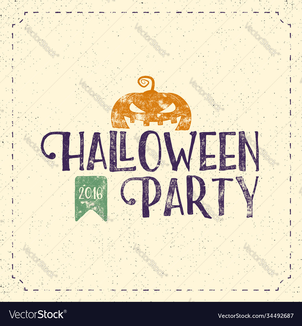 Halloween 2016 party label template with pumpkin