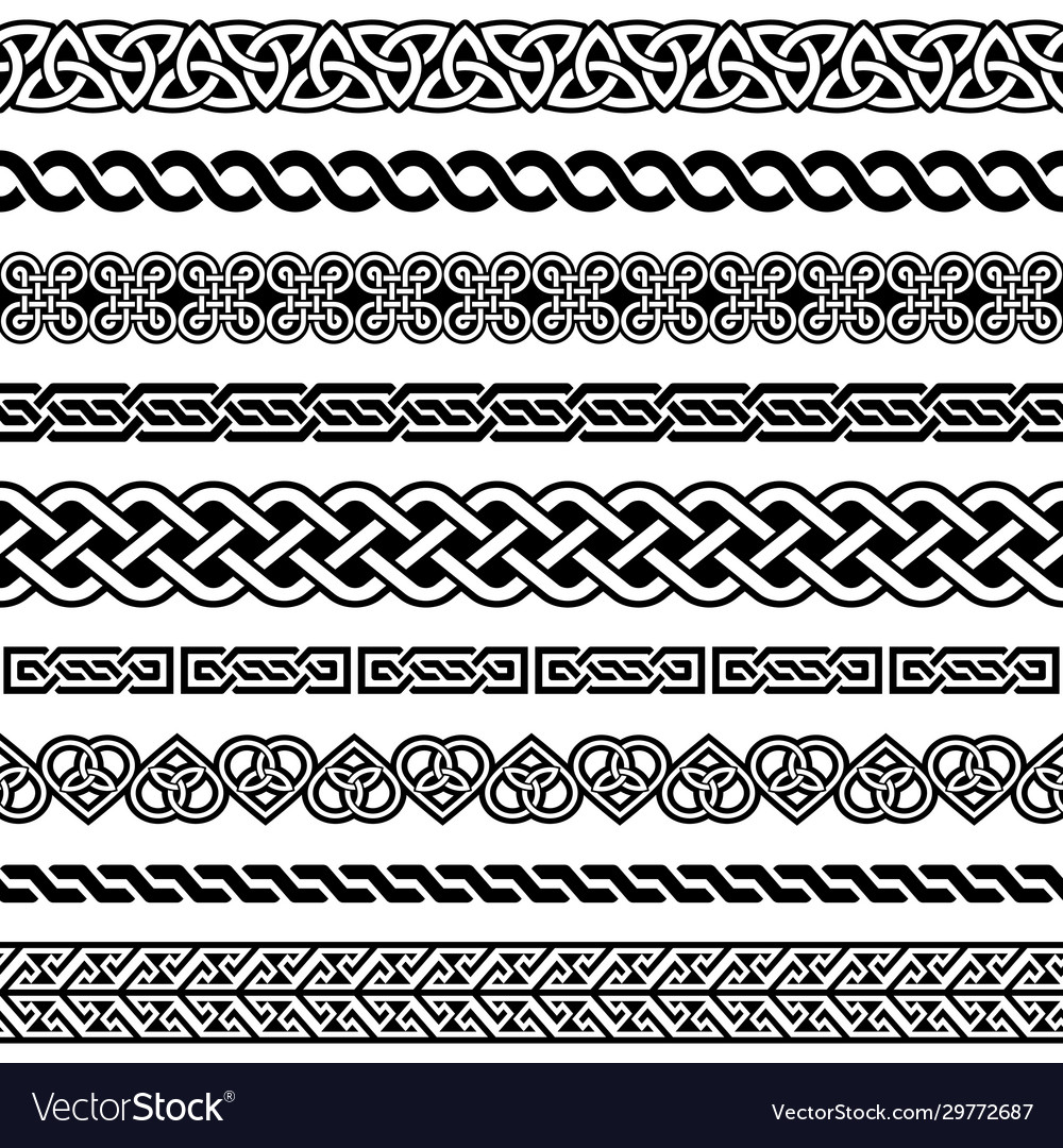 Irish celtic seamless border pattern set