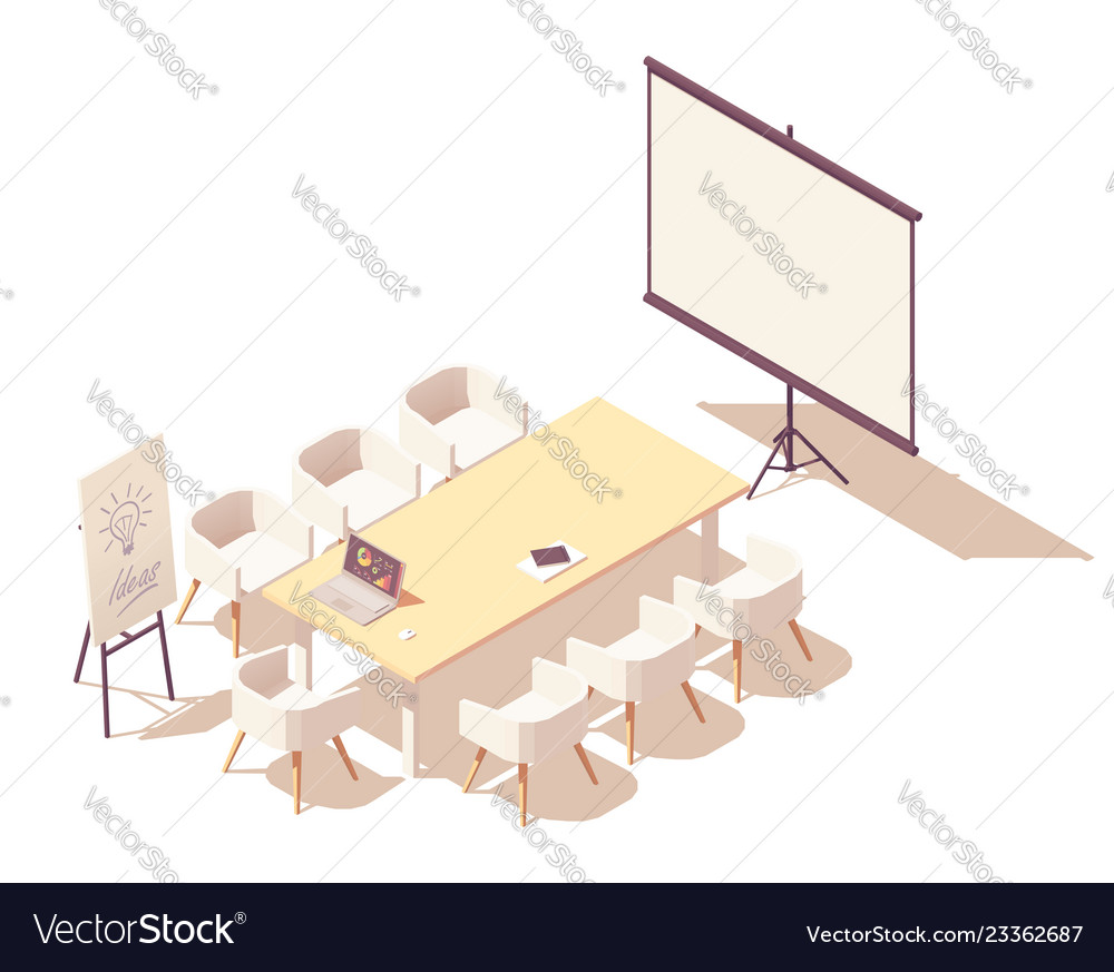 Isometric office meeting room interior