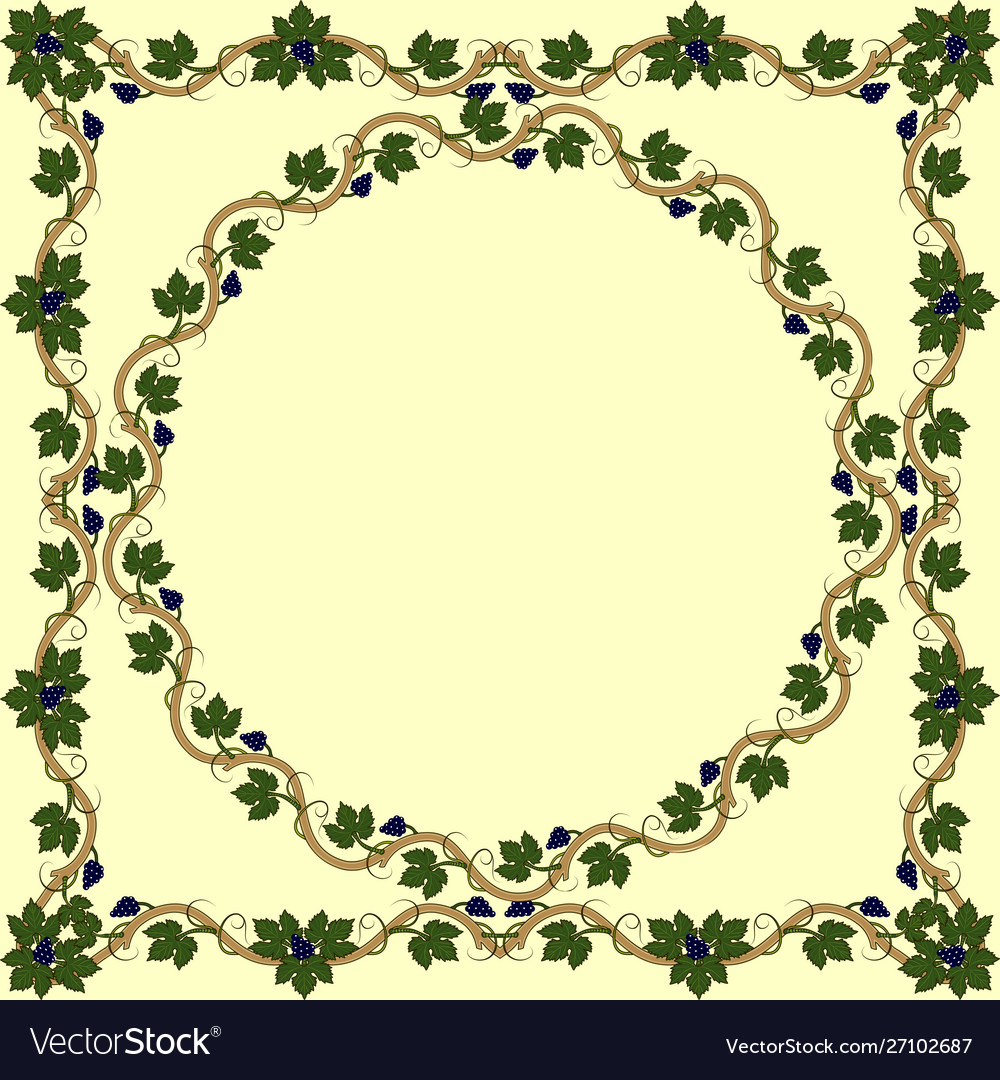 Medieval floral frame with bunch grapes grape
