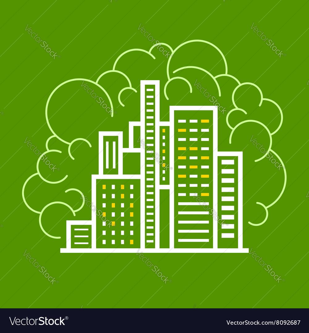 Modern Buildings Line Style Design vector image