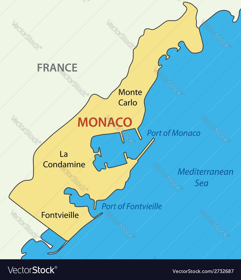 Monaco On Map Of France.Principality Of Monaco Map