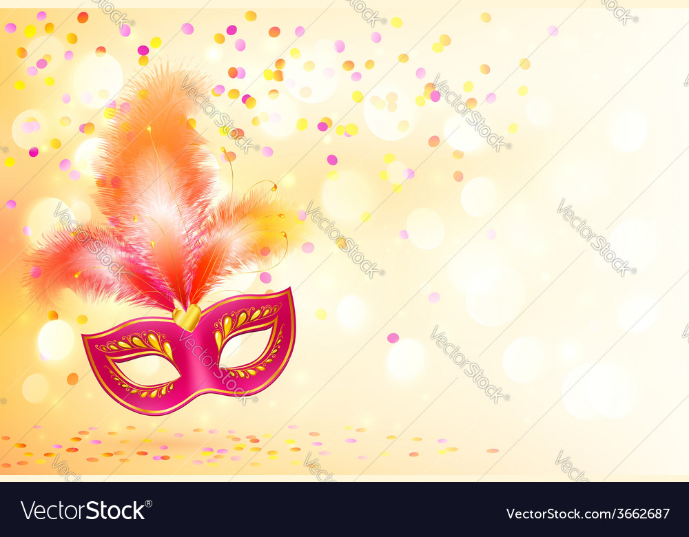 Red carnival mask with feathers on bokeh lights