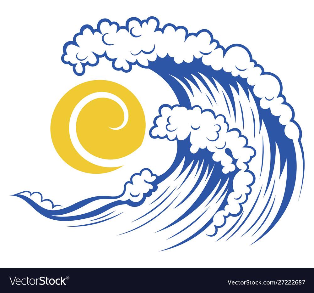 Sea wave and sun stylized sea