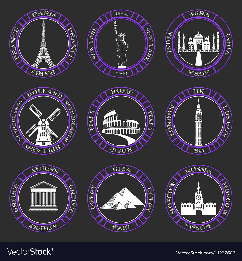 Set Icons of Travel and Sightseeing