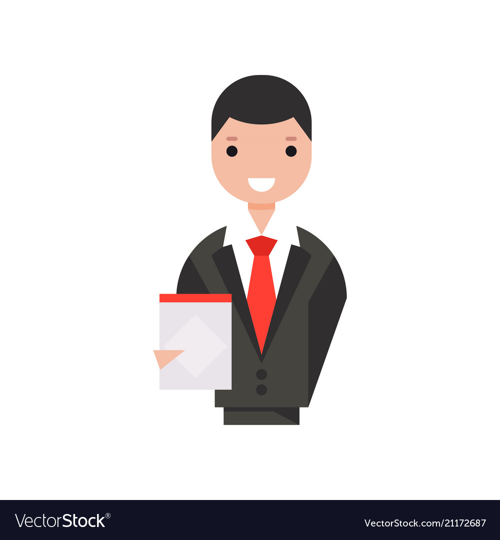 Smiling businessman character holding clipboard