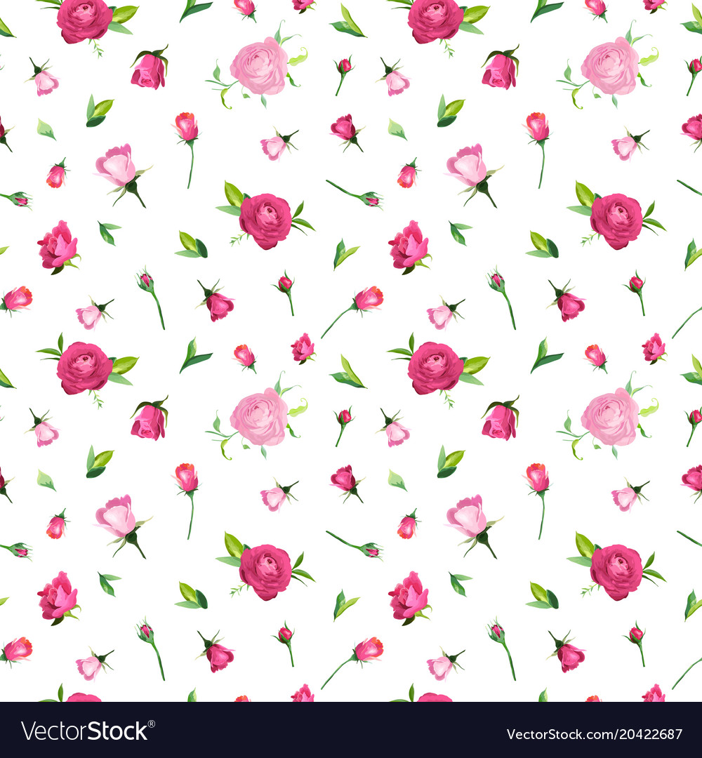 Summer floral seamless pattern with pink roses