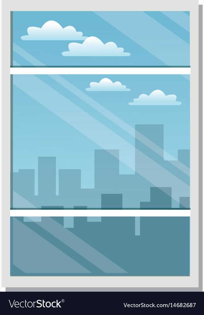 Window city building view skyline clouds vector image