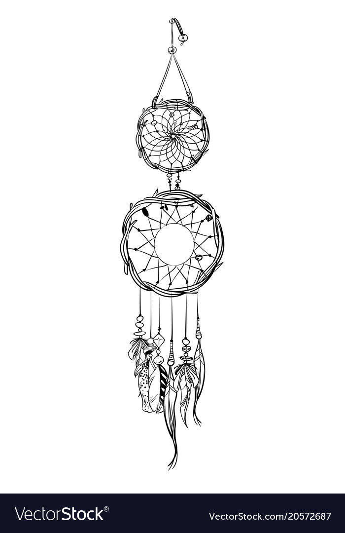 With Hand Drawn Dream Catcher Royalty Free Vector Image Adorable Drawn Dream Catchers