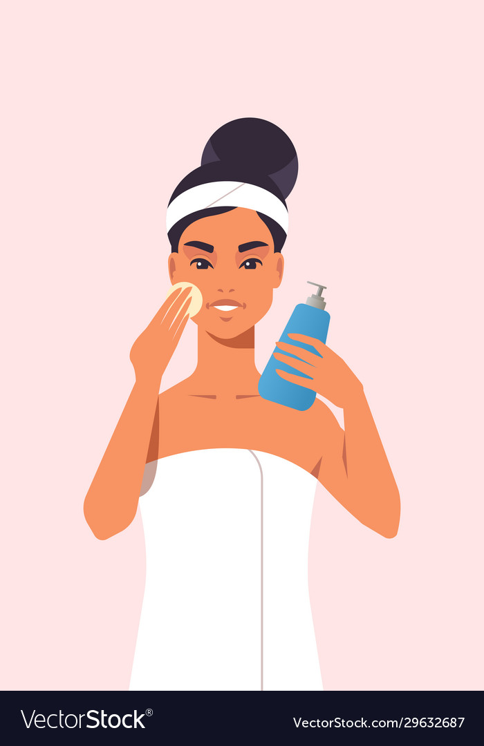 Young Woman Applying Foundation Cream Dressed In Vector Image