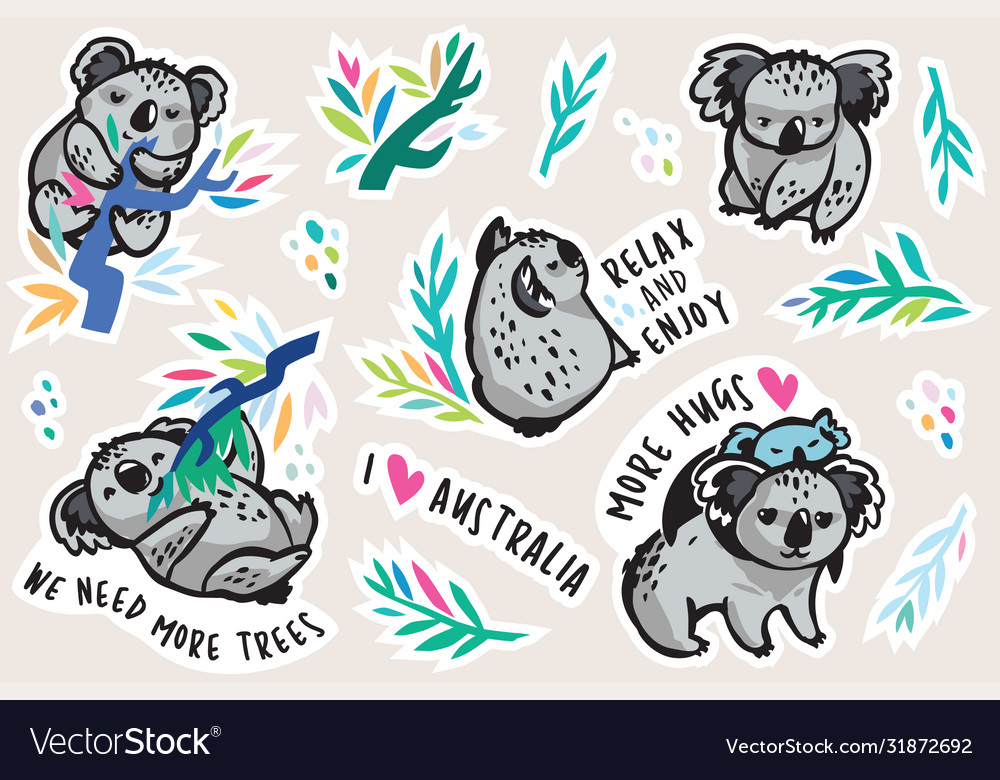 Australian koala animal sticker set